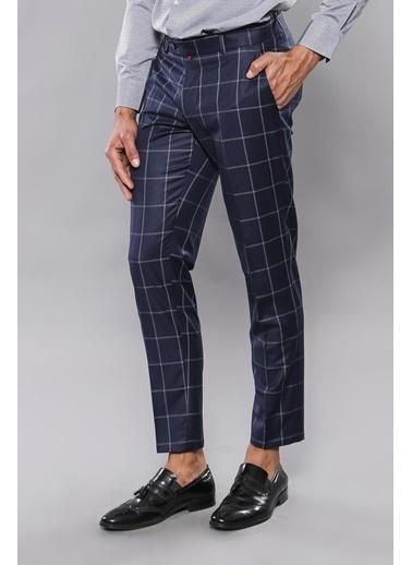 Wessi Erkek Kareli Kumaş Ekoseli Slim Fit Pantolon Lacivert